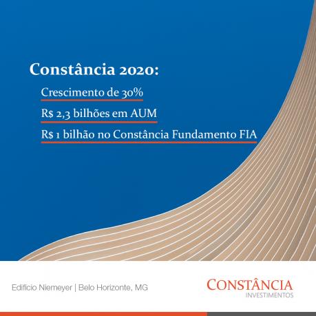 Constância Investimentos cresce 30% em relação ao último trimestre de 2019